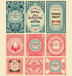 set 9 vintage labels vector image