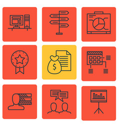 Set of 9 project management icons includes report vector