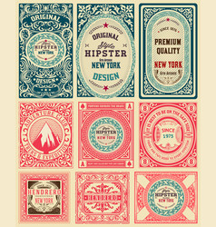 Set of 9 vintage labels vector