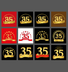 Set of number thirty five year 35 year vector