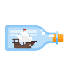 Ship in a glass bottle vector