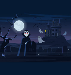 spooky vampire and ghosts vector image