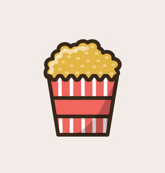 striped cardboard package with popcorn vector image