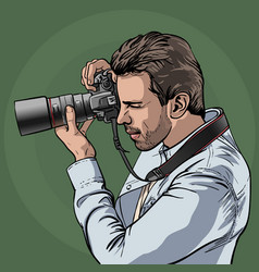 The photographer is at work portrait of a vector