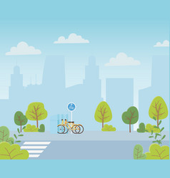 urban ecology parking bicycles transport crossroad vector image