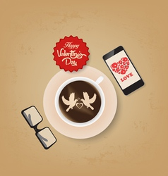Valentines day coffee and all you need is love vector