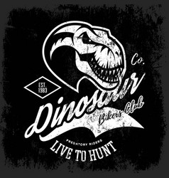 Vintage furious dinosaur bikers gang club tee vector