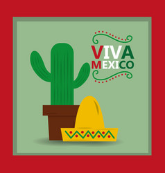 viva mexico hat and potted cactus card invitation vector image
