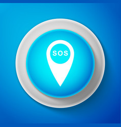 white marker location with sos icon isolated vector image