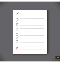 White notebook with lines and place for marks vector image