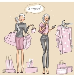 Women at shopping mall vector