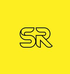 Yellow black line alphabet letter sr s r logo vector