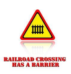 Yellow warning railroad crossing has a barrier ico vector