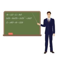 Young teacher man in suit near the desk on white vector