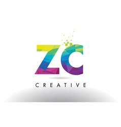 Zc z c colorful letter origami triangles design vector