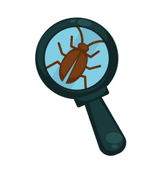 brown cockroach under powerful magnifying glass vector image