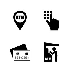 cash machine simple related icons vector image vector image