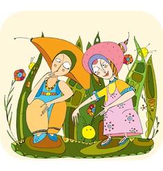 children play grass vector image vector image