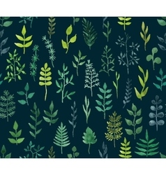 green watercolor floral seamless pattern vector image vector image