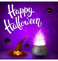 Halloween greeting card with witch cauldron vector