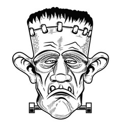 monster head halloween zombie design element for vector image