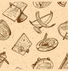seamless pattern with different sundial vector image