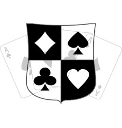 stencil of shield with card suits vector image vector image