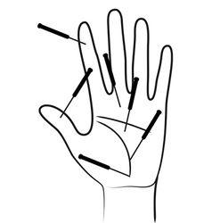 Acupunctured hand vector image vector image