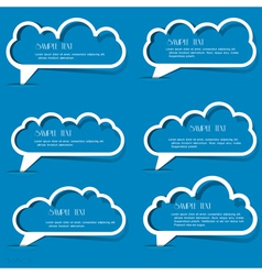 Clouds speech bubbles from paper outline vector image vector image