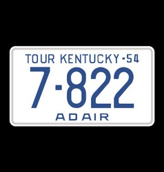 Kentucky 1954 license plate vector image vector image