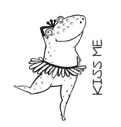 Linear dancing frog ballet dancer vector