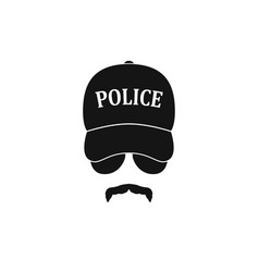 policeman in baseball cap and sunglasses vector image vector image