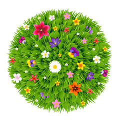 green ball with flowers vector image