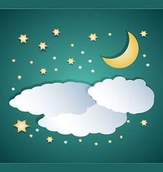night clouds with moon and stars vector image