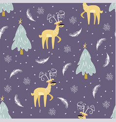 christmas pattern with deers vector image vector image