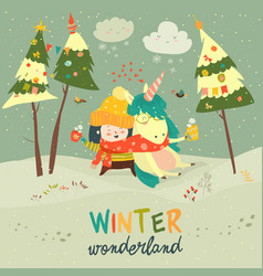 cute girl hugging unicorn winter wonderland vector image vector image