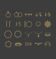 jewelry gold thin line icon set vector image