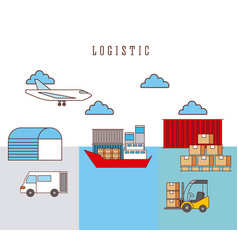 logistic ship truck forklift airplane boxes and vector image
