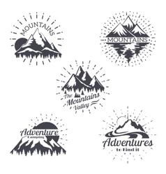 Mountain sketch logo set in retro style vector