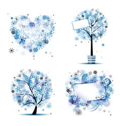 winter tree frames vector image