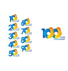 100 years anniversary celebration blue yellow vector
