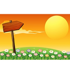 A sunset with wooden arrow vector