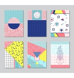 Abstract memphis style cards vector image