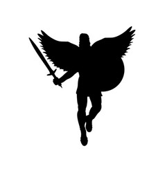 Ares god war wings silhouette ancient mythology vector