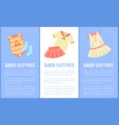 Baby clothes set of posters vector