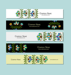 Banners design folk style floral background vector