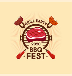 barbecue fest logo grill party steak sausage vector image