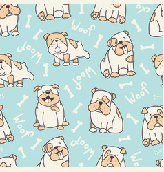 blue bulldog pattern vector image