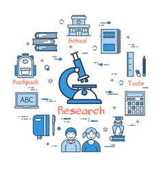 Blue round research concept vector