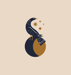 boho bird in moon magic vector image